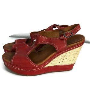 Maya Orange and Wicker Platform Sandal size 9